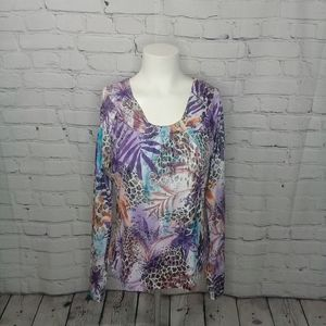 Peck & Peck Weekend Purple Animal Print LS Sz S